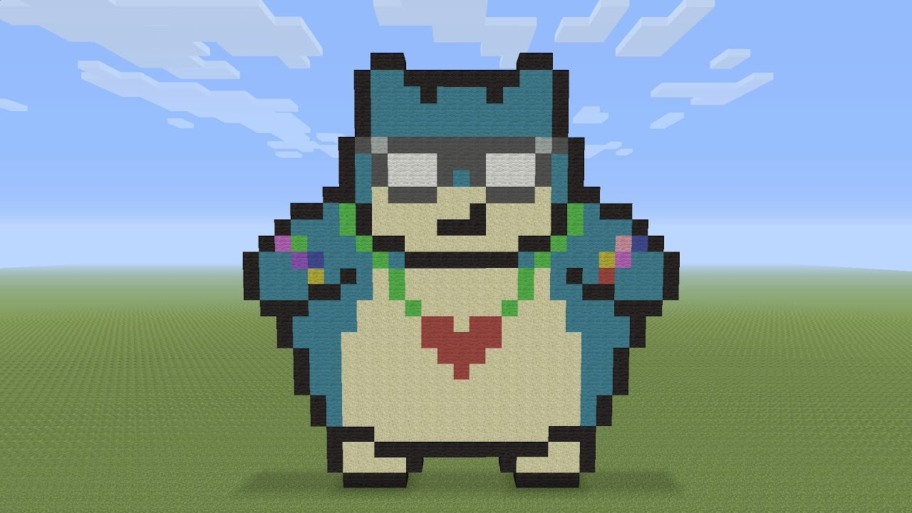 Minecraft Pixel Art Raving Party Snorlax Youtube
