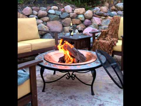 Mosaic 40 Inch Surround Fire Pit With Copper Fire Bowl; Cast Iron Fire Pit,  Table Top Fire Bowl