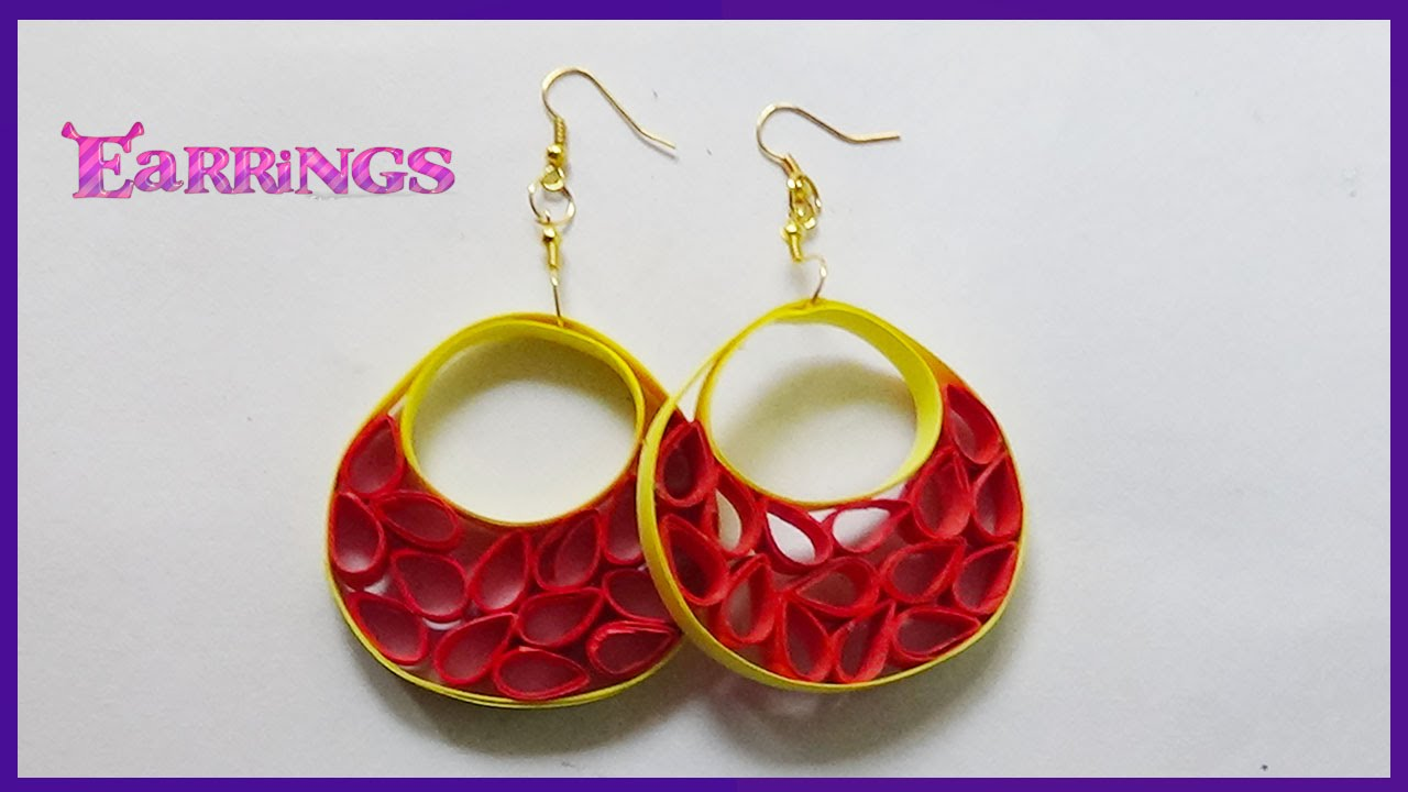 Paper Quilling Earrings Designs Hand Crafts Making Youtube