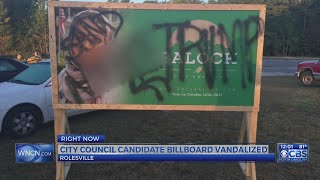 Raleigh city council candidate's billboard defaced with racist graffiti