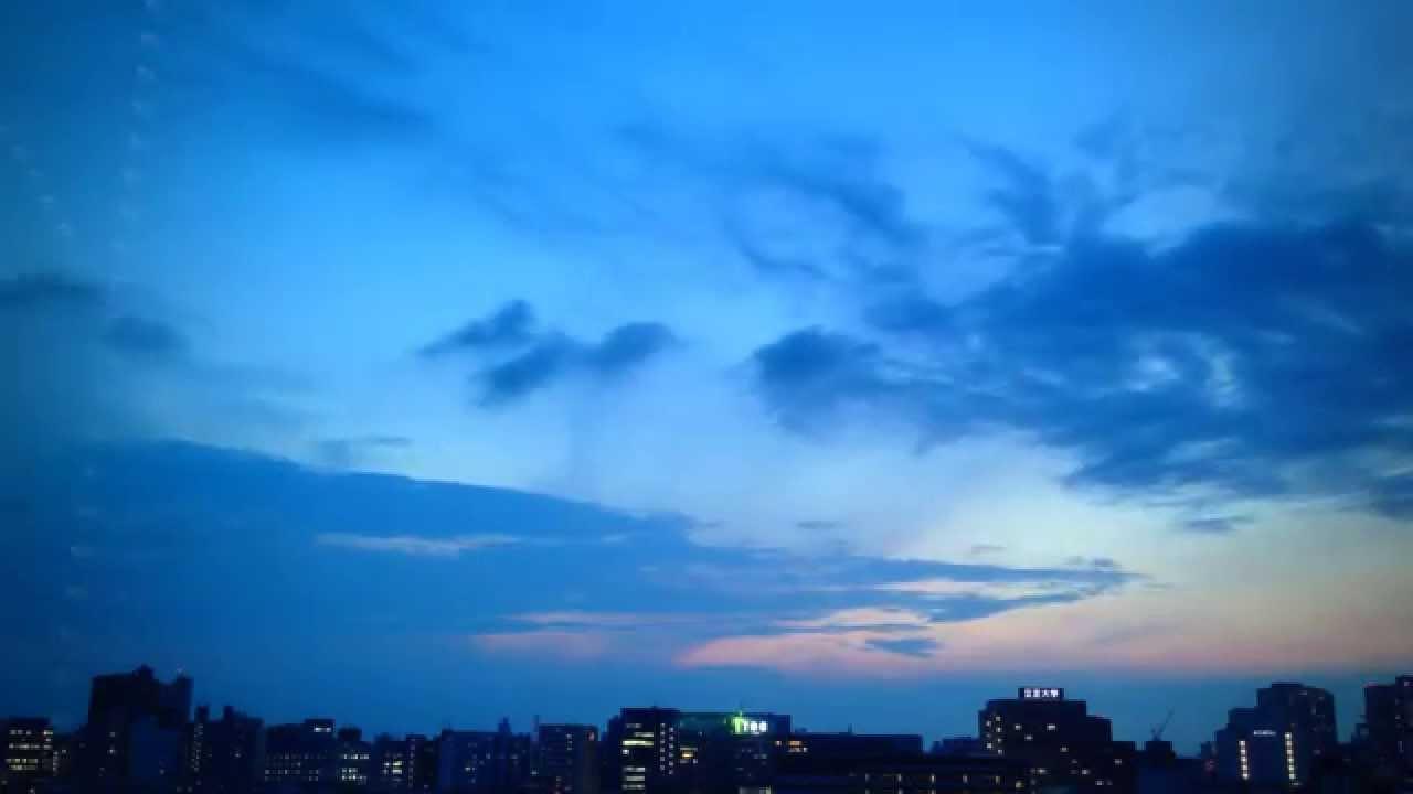 タイムラプス:空の色の移り変わり 午後→夕方→夜 Timelapse ...