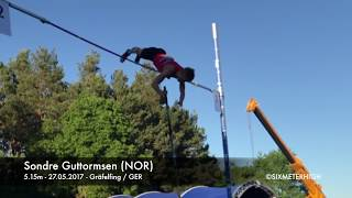 Sondre Guttormsen from Norway jumping 5.15m in the Pole Vault