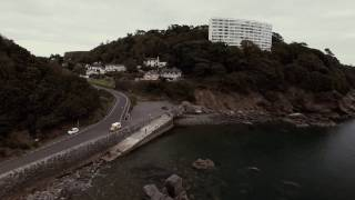 Flying over Meadfoot Beach Torquay South Devon UK 28 Oct 2016