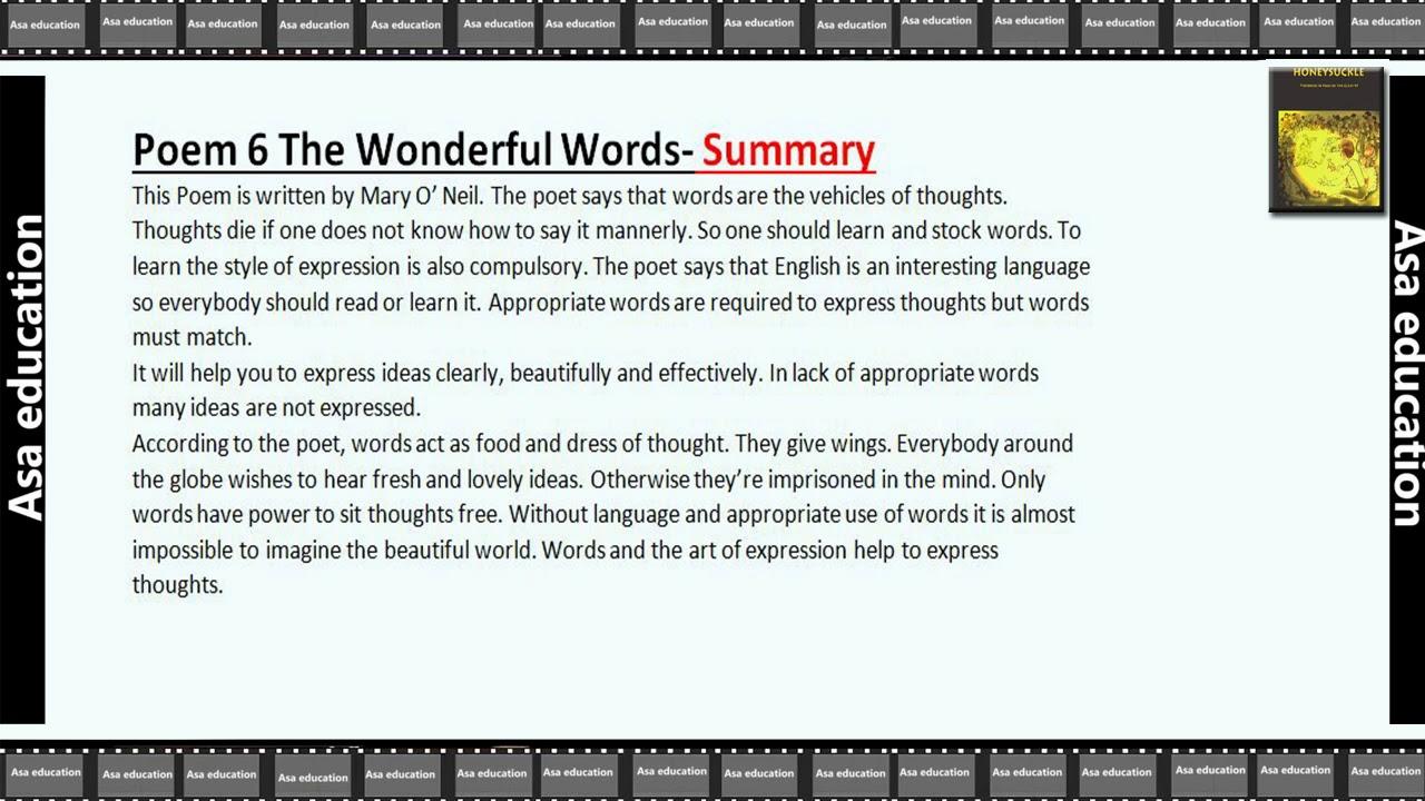Poem 6 The Wonderful Words (English - Honeysuckle, Grade 6, CBSE) Summary /  Chapter in Brief