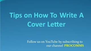 Tips on How To Write A Cover Letter | Cover Letter Tips | Resume Cover Letter Tips