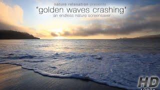 """""""Golden Waves Crashing at Sunset"""" Endless Looping Nature Video1080p"""