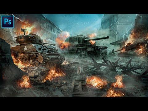 Танковый бой в фотошопе Фотоманипуляция в Фотошопе Коллаж фотошоп  Арт в Фотошопе Коллаж в фотошопе