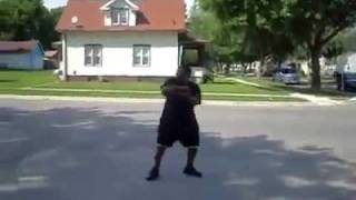 crazy crackhead dancing gets hit with an ice cream truck funny