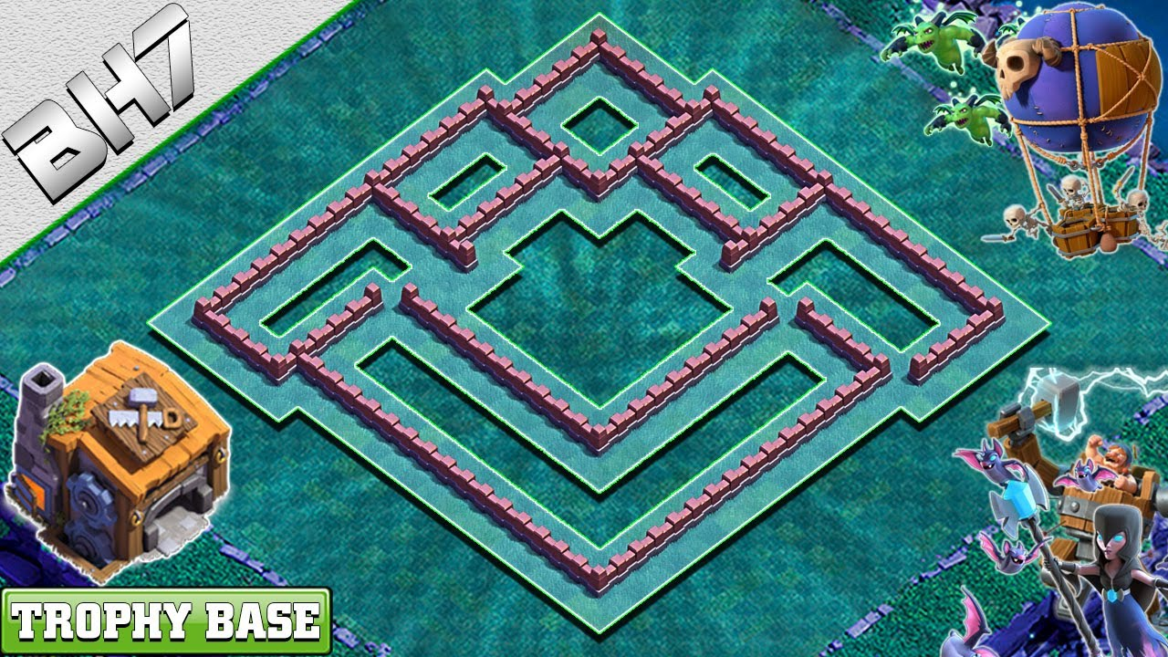 New Best Builder Hall 7 Bh 7 Base 2020 Design With Copy Link Clash Of Clans Youtube