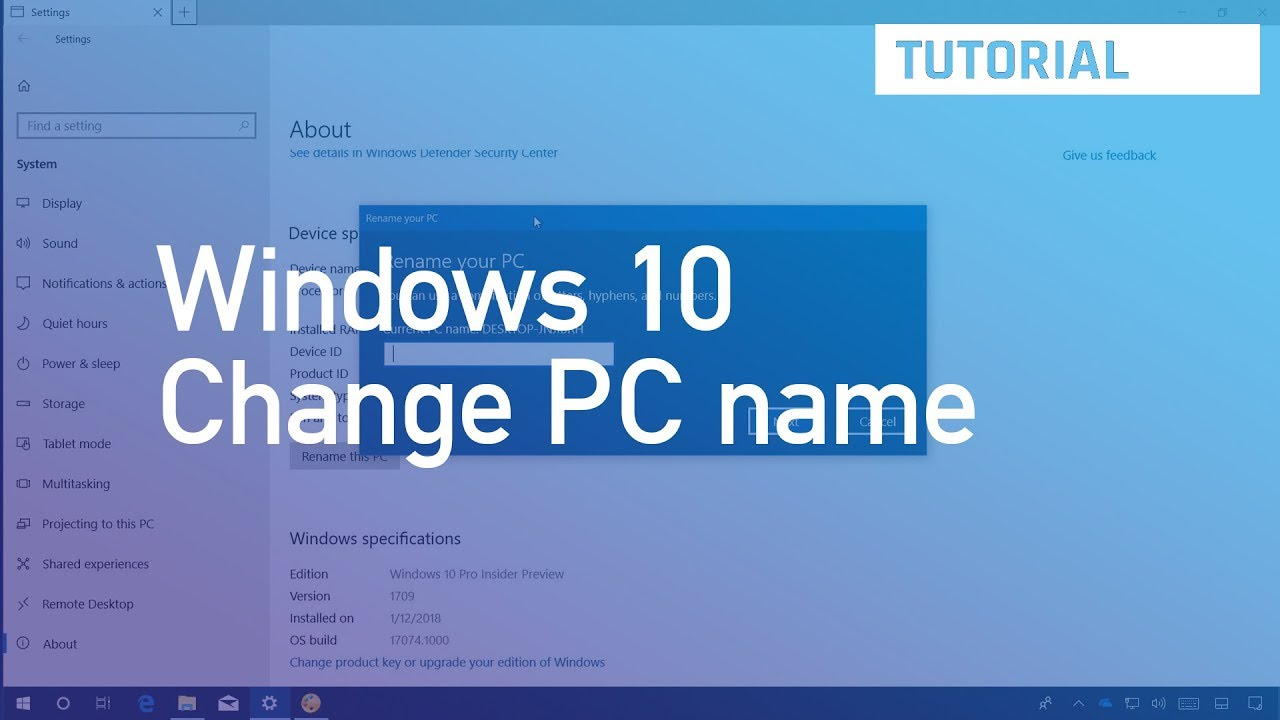 How to change the PC name on Windows 10 • Pureinfotech