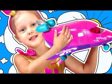 SHOPKINS Самолет Куклы Шопкинс улетают на море Амелька пилот самолета Путешествие Видео для детей