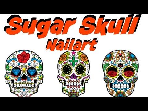 NAIL ART W/ SUGAR SKULL   Dearnatural62