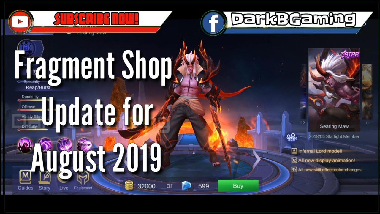 Fragment Shop Update for August 2019  Mobile Legends  Martis Searing Maw