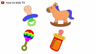Baby nipple, toy horse, milk bottle coloring pages | How to draw Toy for kids | Teach colors