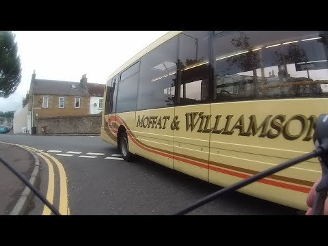 Cyclist almost taken out by bus at Markinch (NSFG)