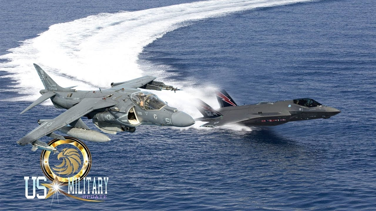 Amazing Battle : F-35B vs AV-8B Harrier II Short Takeoff & Vertical Landing