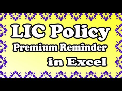 LIC Insurance Policy Premium auto reminder format created in excel