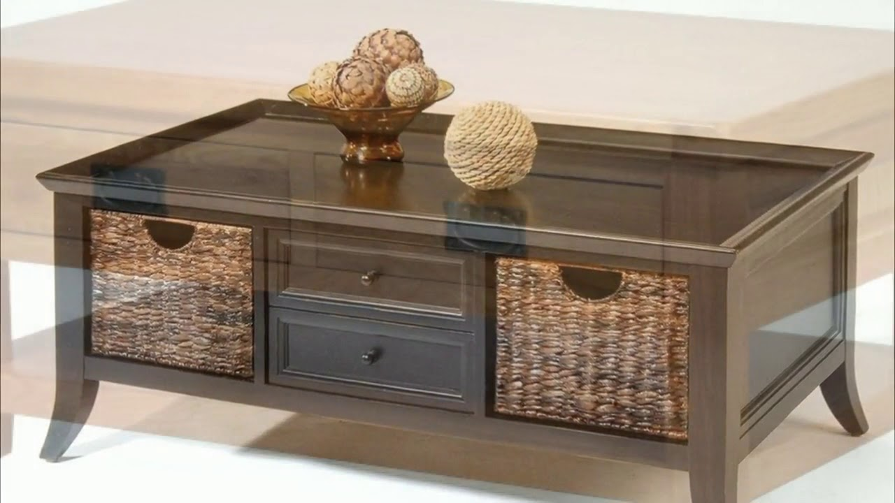 Timber Black Wood Coffee Table With 2 Drawers Shelf Youtube