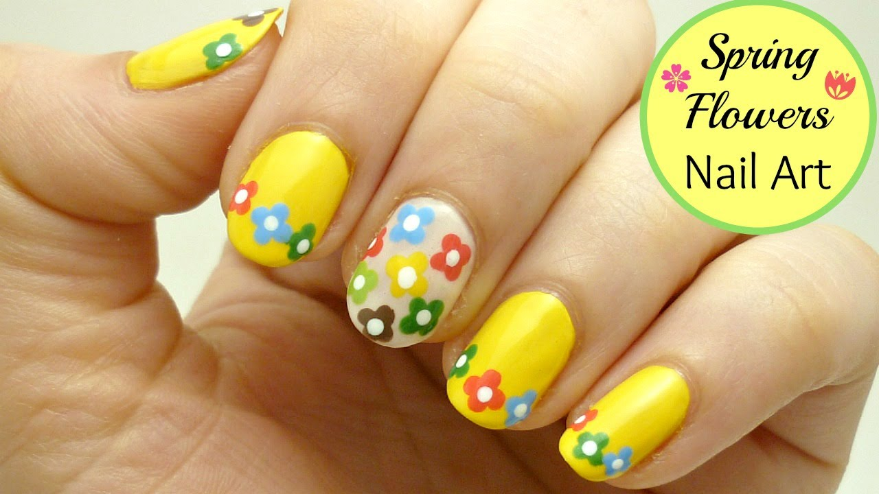 Easy Spring Flowers Nail Art! ~Fun and Colorful Design~ - YouTube