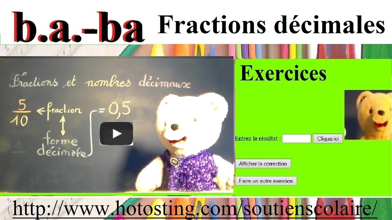 Maths : Calculer une fraction décimale - cp ce1 ce2 cm1 ...