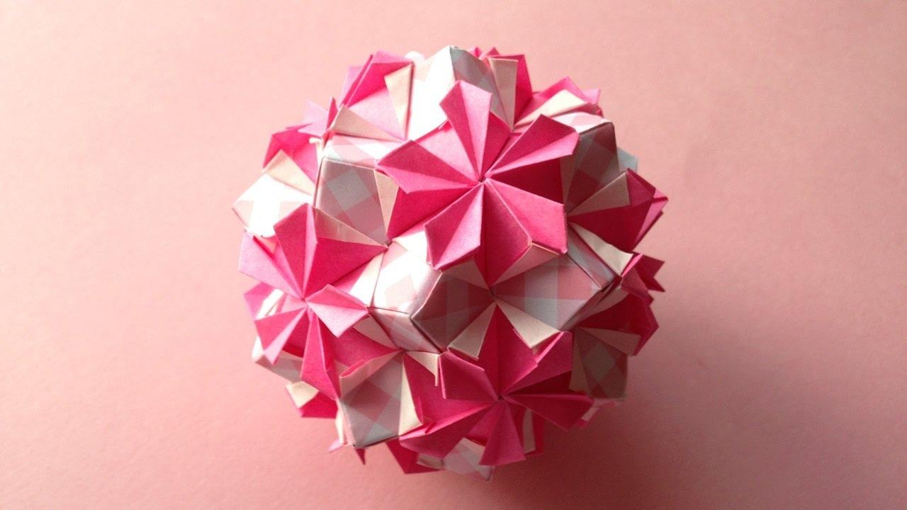 Origami Kusudama Flower Periwinkle 30units Instructions 折り紙 の くす玉 花