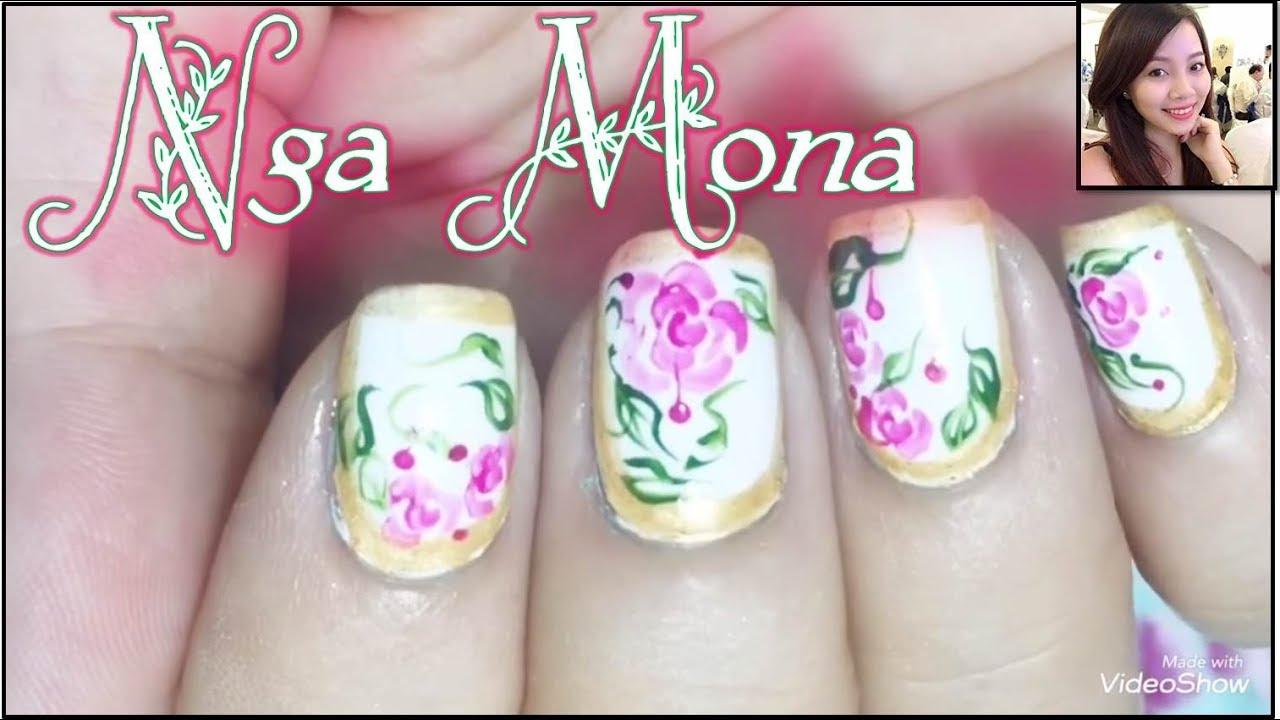 Vẽ hoa hồng tím 3D trên nền móng trắng viền nhủ vàng     Nga Mona    Beautiful Nail