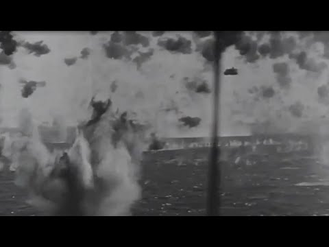 Okinawa Japanese Kamikaze Attack on US Navy Fleet WW2 Footage April 1945