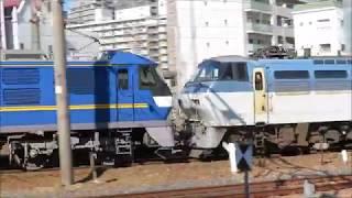 JR新大阪駅にて 通過していく貨物列車