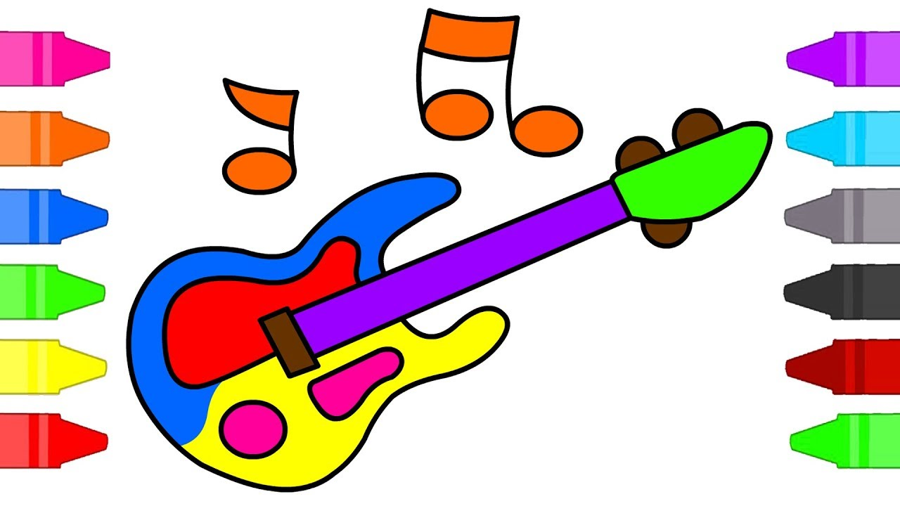 Guitar Coloring Pages For Kids Musical Instruments Coloring Book For Children Youtube