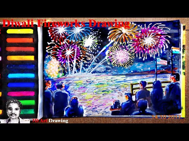 Fireworks Diwali | Diwali Festival Drawing Competition with Soft Pastel