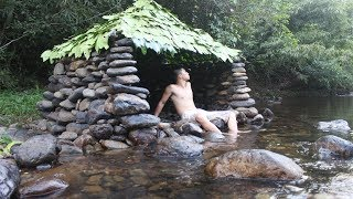 Primitive Technology: Build a Stone Hut on the Stream