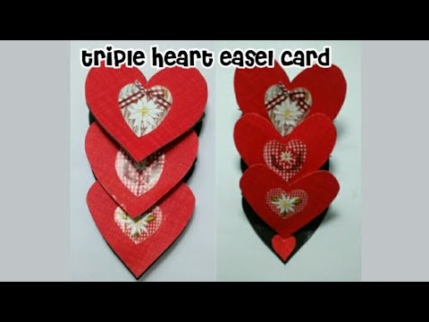 Triple heart easel card, beautiful heart card, how to make paper  triple heart card (mrin art)