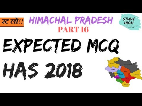 Expected Question HAS 2018 || HP GK|| himachal gk STUDY HIGH|| PART 16