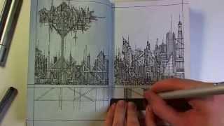 Drawing in my Book #5 (Futuristic Cityscape)