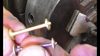Запонки из золота на токарном станке. Шпулька для Зингер Singer