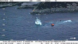 غرق فرقاطة نرويجية بعد حادث اصطدام (فيديو)