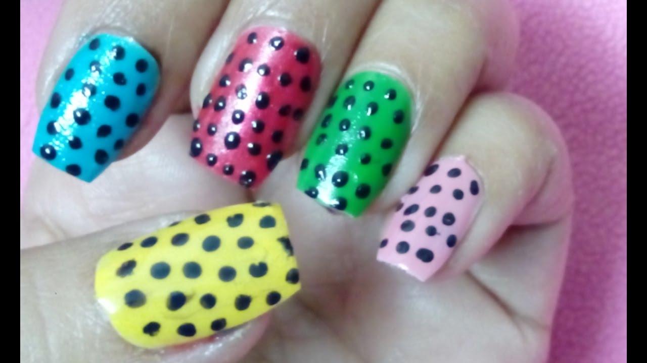 DIY: classy polka dots nail art: only using pin . - YouTube