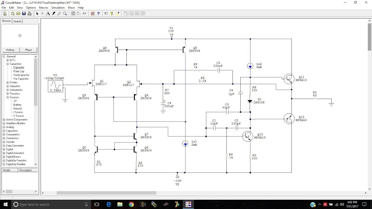 Lm741 Circuit Diagram | Lm741 Discrete Op Amp With Jfets Input Transistors And Bass Bump In