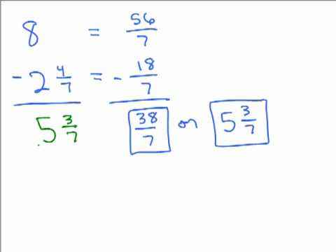 Subtract Fraction from a Whole Number - YouTube