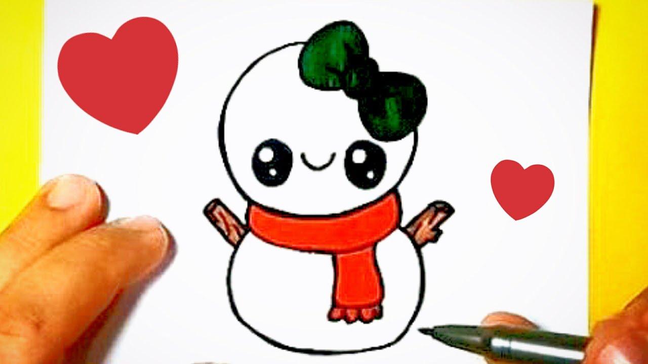 Como Desenhar Boneco De Neve De Natal Fofo Facil E Bonito