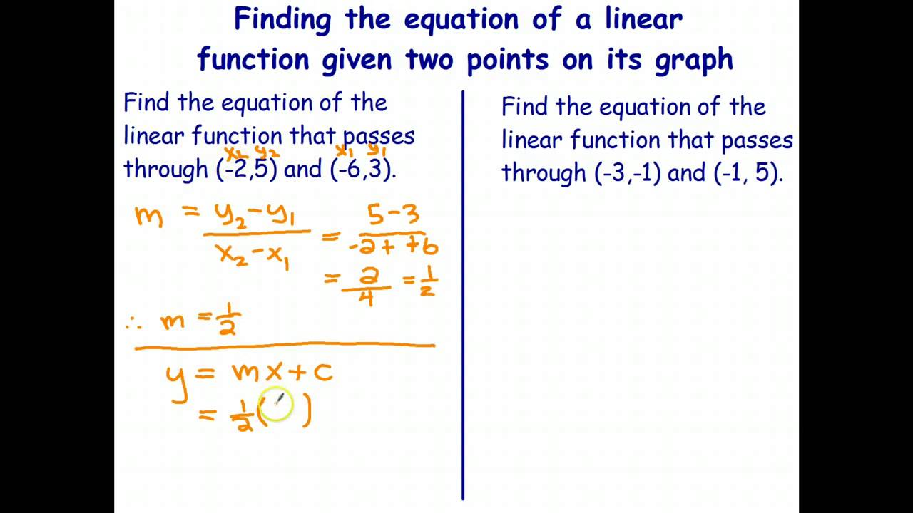 equation of a linear function given two points youtube. Black Bedroom Furniture Sets. Home Design Ideas