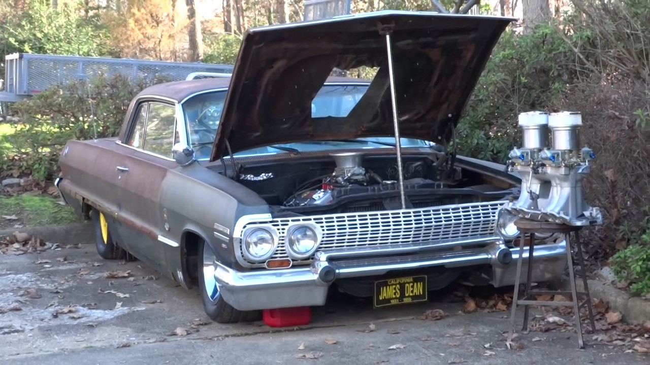 All Chevy 63 chevy 409 : Bad Ass 63 Chevy Impala 454* Radical cam* open pipes* start up ...