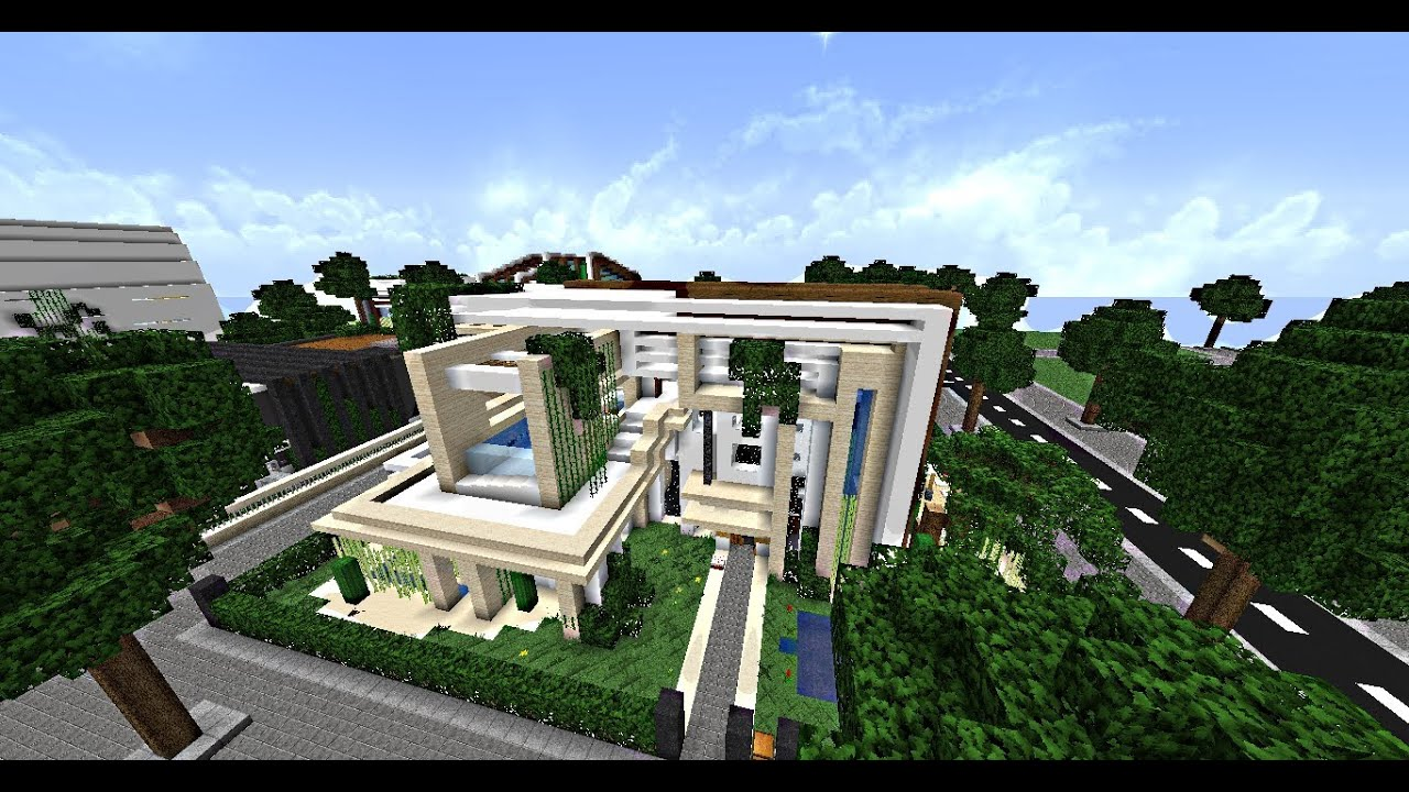 Minecraft maisons modernes des abonn s 50x50 n 1 youtube for Plan maison minecraft moderne