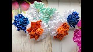 красивые бантики из лент 2,5 см Канзаши МК / Beautiful bows of ribbons 2.5 cm /  laço de fitas