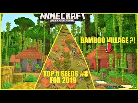 Minecraft PE - TOP 5 BEST SEEDS For 2019 #8 ! BAMBOO VILLAGE ?! MANSION & MORE | MCPE 1.1