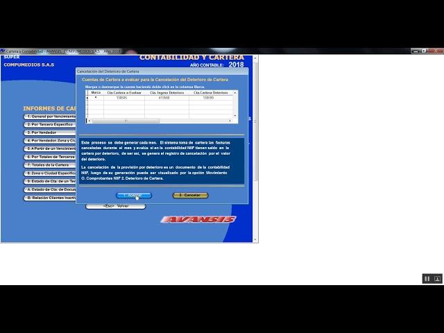 Cancelación del deterioro de cartera 5.1