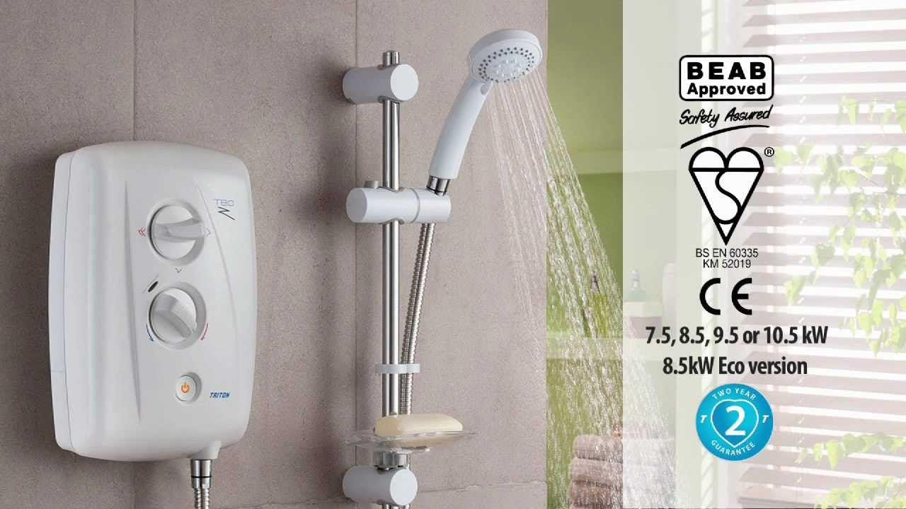 Triton Thaigo 8.5Kw Slimline Elektrische Dusche Easy Fit Weiß Chrom T70GSI+