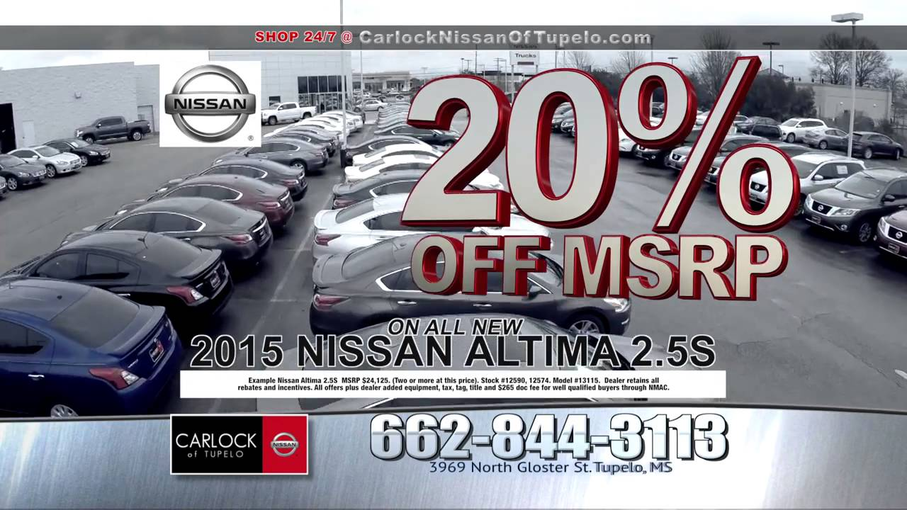 Carlock Nissan Of Tupelo >> Carlock Nissan of Tupelo: January 2016 TV Commerical - YouTube