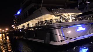 [4k] Nightshot of superyachts in Antibes harbour incl.