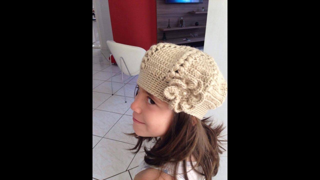 Boina Infantil c  Flor - YouTube 4a55d94de37